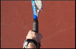 Serve - Midway Grip between continental eastern-backhand -left-handed